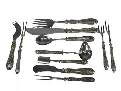 Antique Russian silver 11 pieces service set