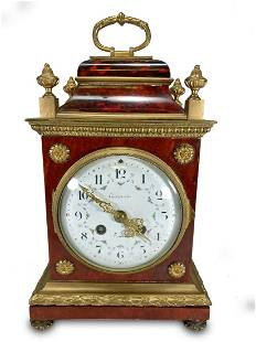 Antique French Germain wood & bronze travel clock