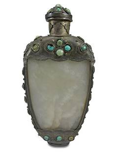 Antique Chinese jade, turquoise & metal snuff bottle