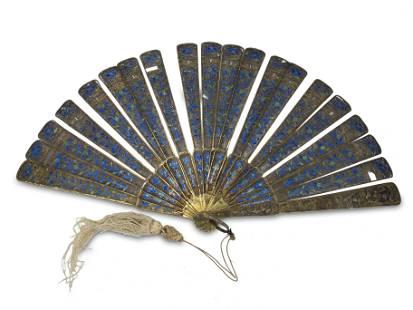 Chinese Export fillgree silver & enamel fan