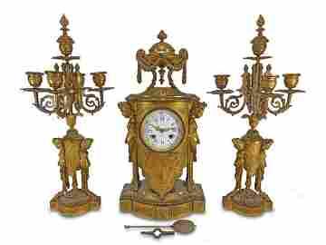 Antique Japy Freres, Bordier, Levy Paris clock set