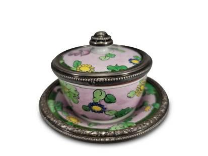 Antique French Mehun silver & porcelain jar