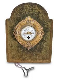 Antique French bronze, porcelain & velvet clock