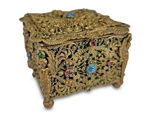 Antique fillgree bronze small jewelry box