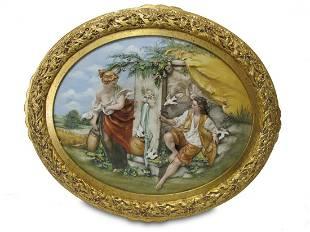 Italian Capodimonti large framed porcelain plaque