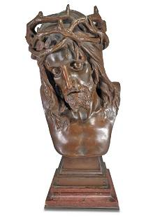 Eugene MARIOTON (1854-1933) Jesus bronze bust