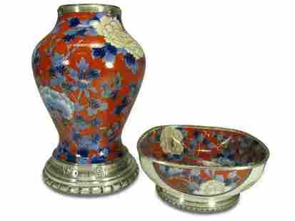 Antique French silver & porcelain set