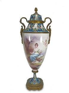 Antique French porcelain & bronze cloisonne urn