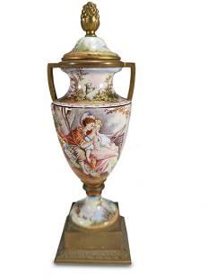 Antique Viennese enamel & bronze urn