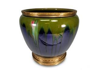Antique French majolica & bronze vase, marked LD