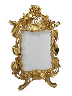Art Nouveau French gilt bronze picture frame