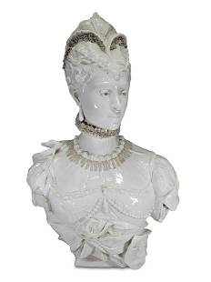 Antique French large woman white porcelain bust