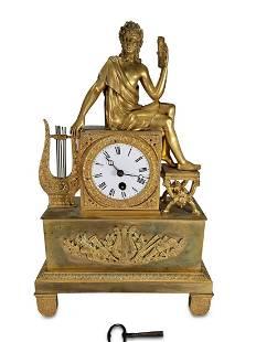 Antique French gilt bronze mantle clock