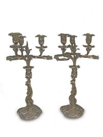 19th C French silver candelabras by Adelaide Dumenil