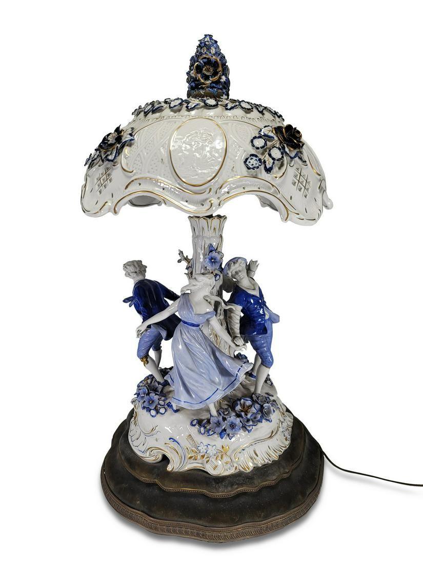 German Von Shierholz group porcelain lamp