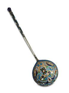 Antique Russian silver & enamel spoon