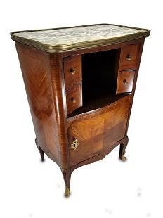 French Louis XV mahogany, bronze & marble table