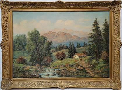 Vintage European oil on canvas landscape painting,