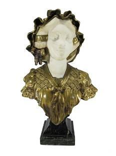 Charles R. FAGGIONI (XIX-XX) bronze & marble bust