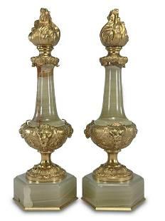 French pair of gilt bronze & onyx urns