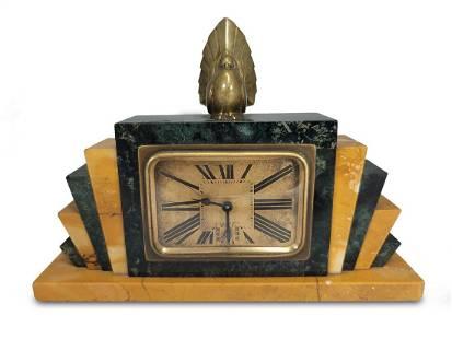 French Art Deco bronze & marble alarm clock