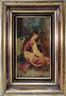 Antique European oil on wood painting, unsigned