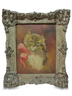 Old oil on canvas cat painting
