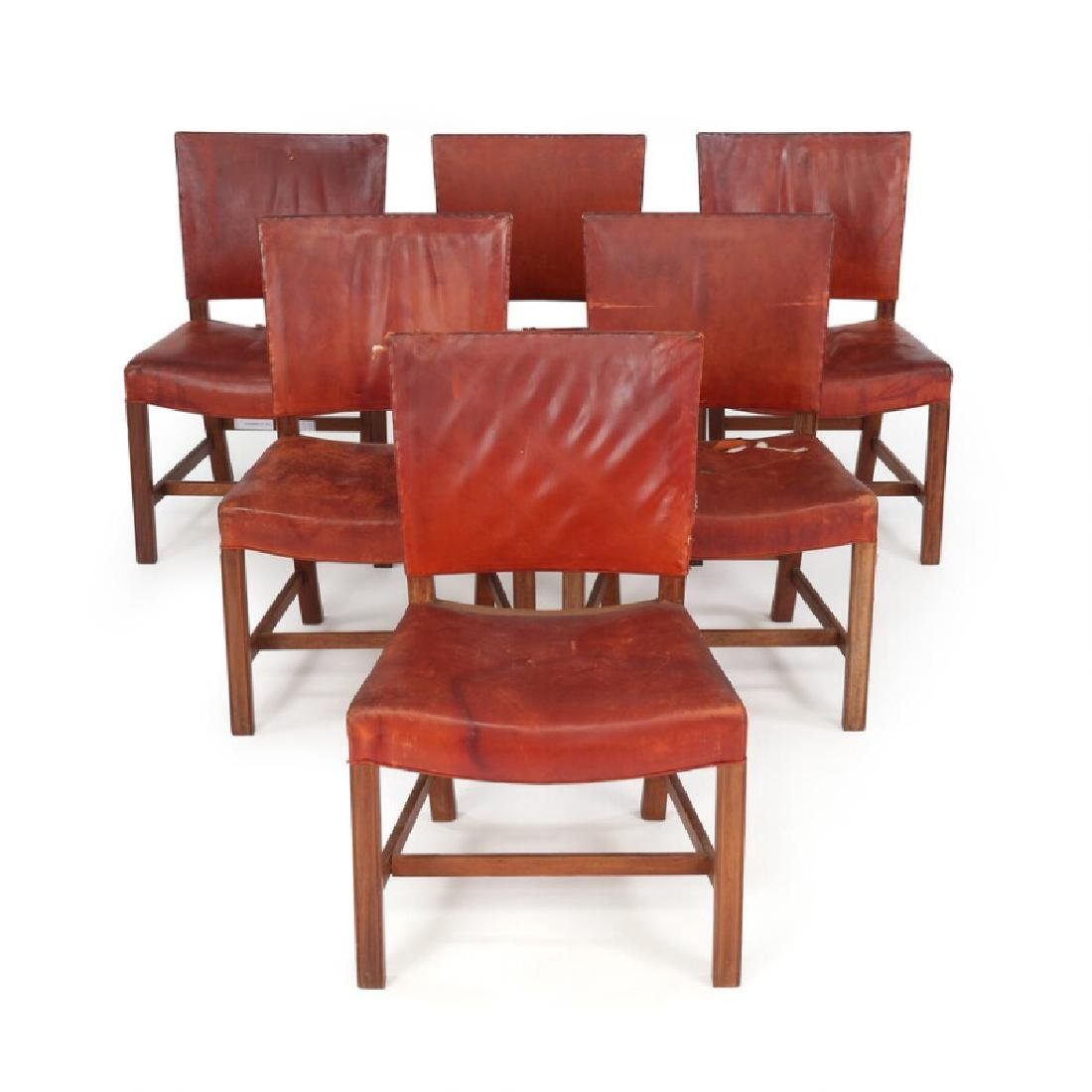 "Kaare Klint: ""The Red Chair"". A set of six chairs with"