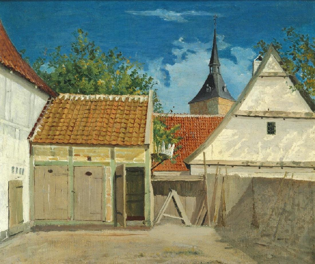 Christen Købke: The interior of a courtyard in Odense.