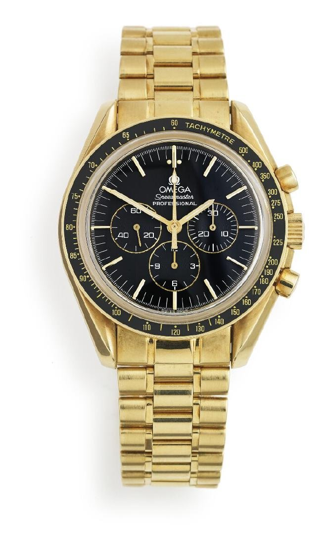 Omega: A gentleman's wristwatch of 18k gold. Model
