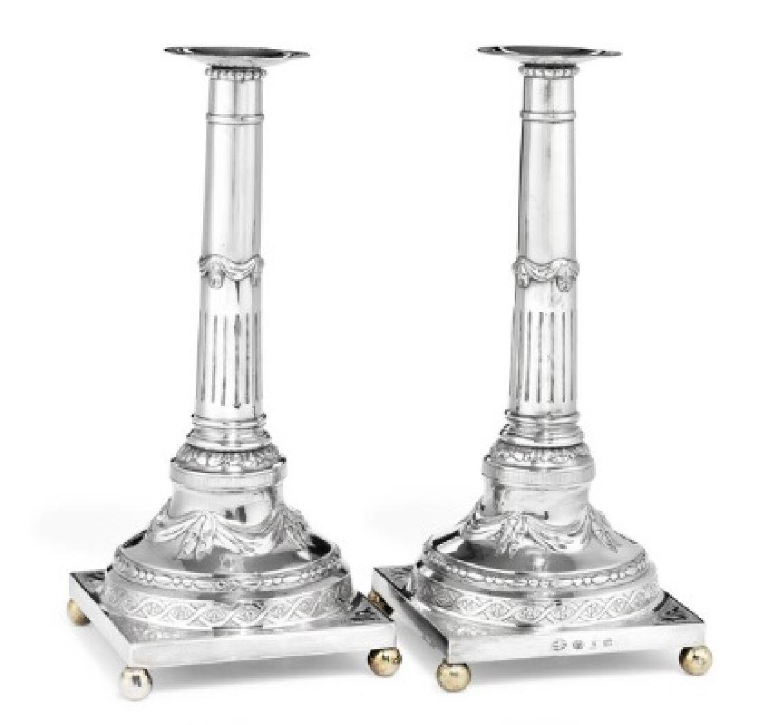 A pair of Danish Louis XVI silver candlesticks. Maker