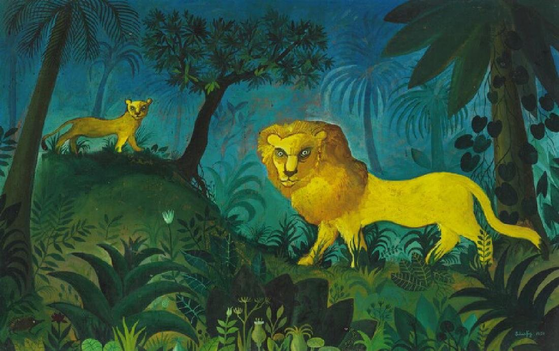 Hans Scherfig: Jungle painting with Lions. Signed