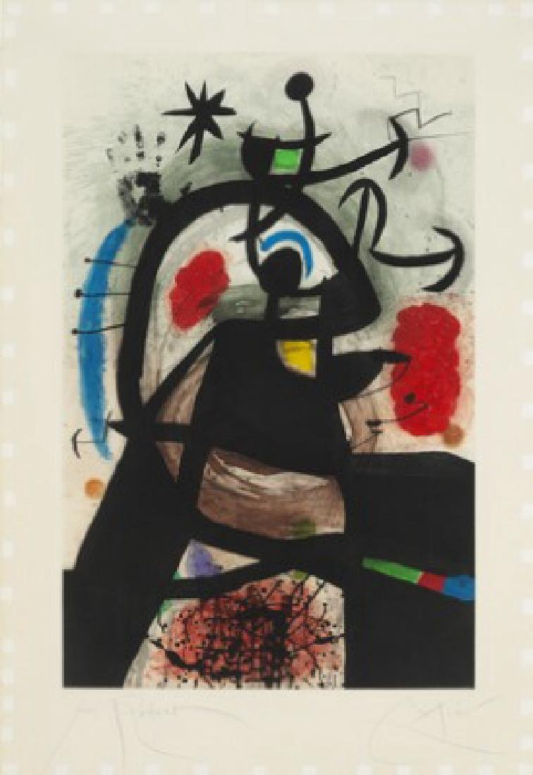 "Joan Miró: ""Le permissionnaire"", 1974. Signed Miro with"