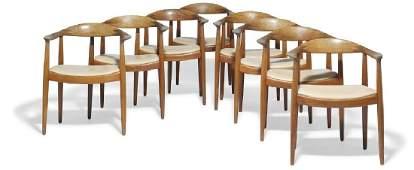 "Hans J. Wegner: ""The Chair"". A set of eight teak"