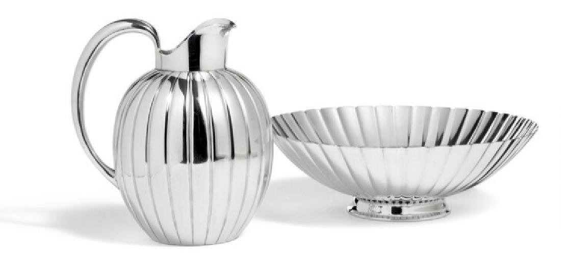 Sigvard Bernadotte: Sterling silver bowl and pitcher.