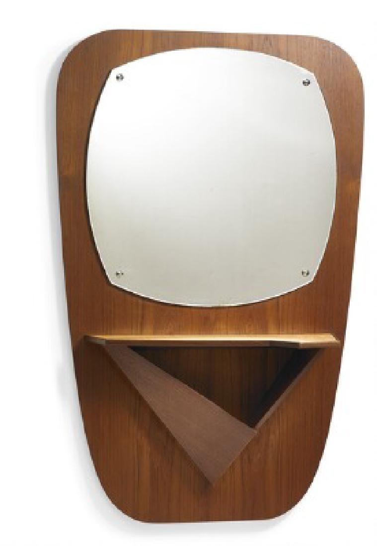 Danish furniture design: Wall mounted teak mirror with