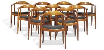 """Hans J. Wegner: """"The Chair"""". A set of 12 mahogany"""