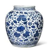 A large Chinese blue and white porcelain jar decorated