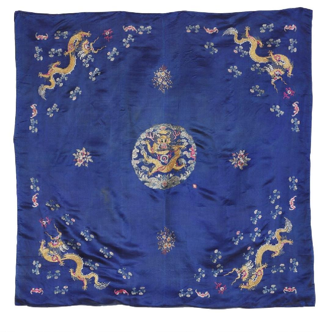 A Chinese silk embroidery. Centre rosette with yellow
