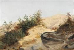 Fritz Petzholdt Hilly Italian landscape Study