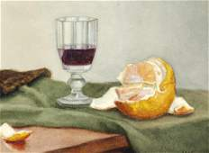 Vilhelm Hammershøi: Still life with glass with red wine