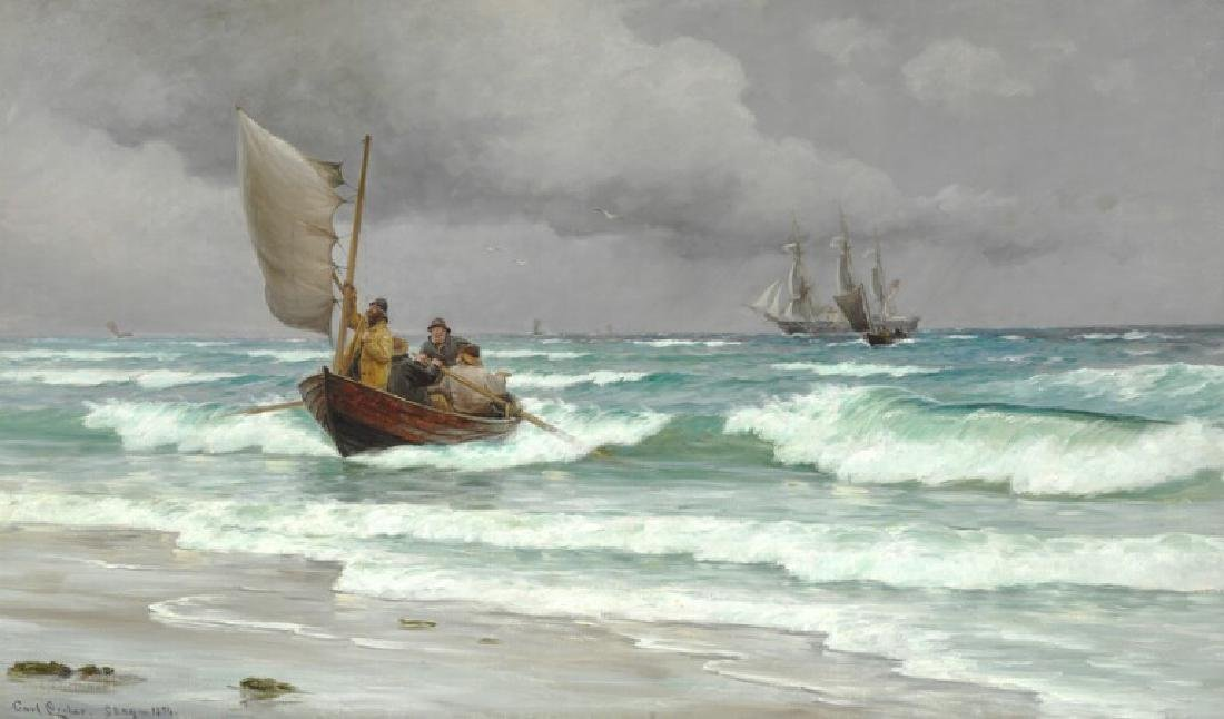Carl Locher: Men in a rowboat and a three-masted vessel