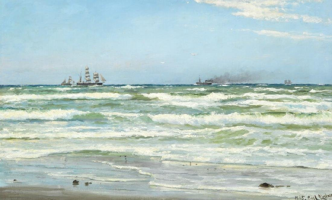 Carl Locher: Summer day with numerous ships off the