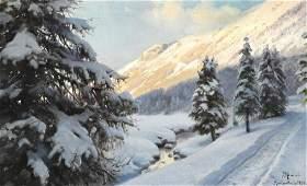 Peder Mønsted: Winter landscape at Morteratsch in