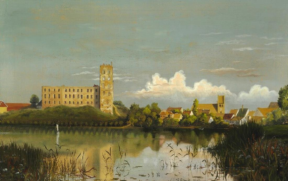 Peder Mønsted: View from Kolding lake towards