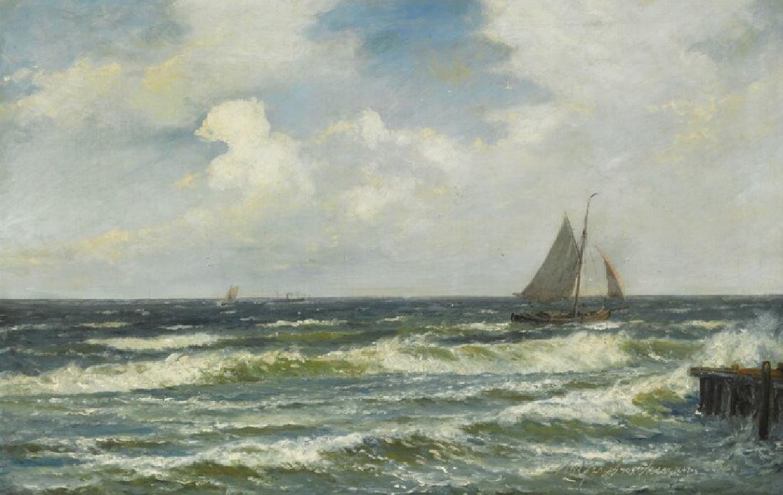 Holger Drachmann: Seascape with fishing boat and ships