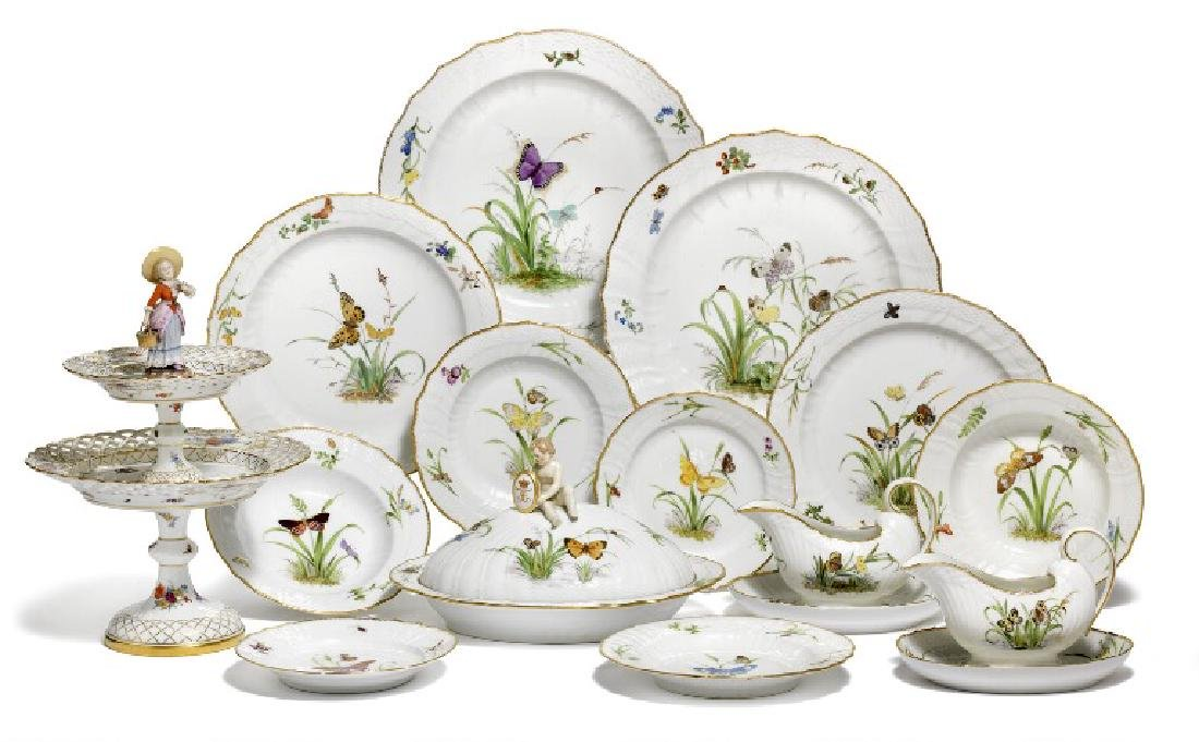 """""""The Butterfly Service"""" porcelain service decorated in"""