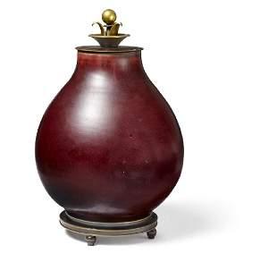 Carl Halier, Knud Andersen: Stoneware lid jar decorated