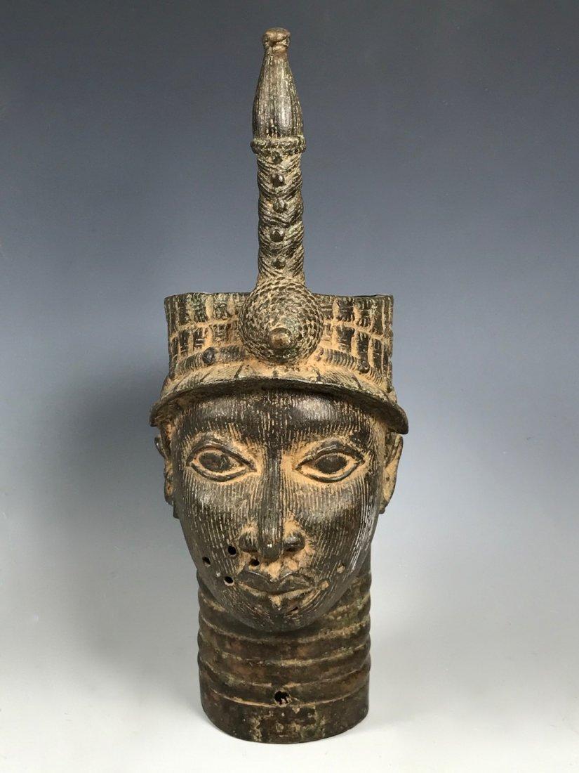 Large Benin Bronze Oba Head