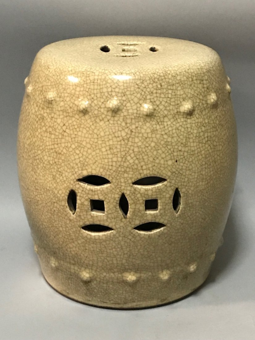 Crackled Porcelain Stool